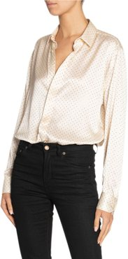 Long-Sleeve Silk Satin Button-Down Shirt