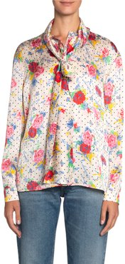 Polka-Dotted Floral Jacquard Silk Scarf Blouse