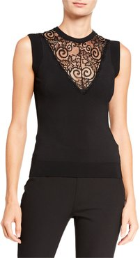 Stretch Knit & Lace Inset Shell