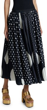 Polka-Dot Pleated Maxi Skirt