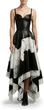 Leather Tiered-Lace Cocktail Dress