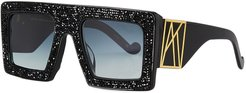 Mother Beep Square Acetate Sunglasses w/ Crystal Front