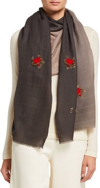 Love Planet Embellished Cashmere Scarf
