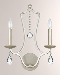 Crystorama Manning Two-Light Silver-Leaf Sconce
