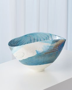 Ivory Turquoise Feather Swirl Oval Bowl - Small