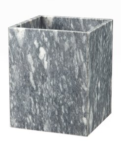 Myrtus Collection Square Cloud Gray Wastebasket w/ Liner