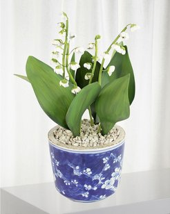 Lily of the Valley May Birth Flower in Ceramic Pot