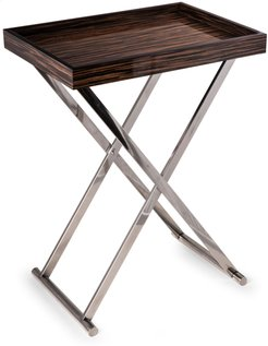 High Lacquered Ebony Wood Tray Table