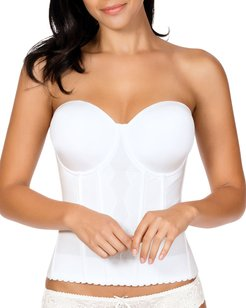 Elissa Full-Cup Low-Back Bustier, Pearl White