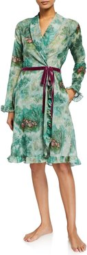 Eugenie Floral-Print Short Robe