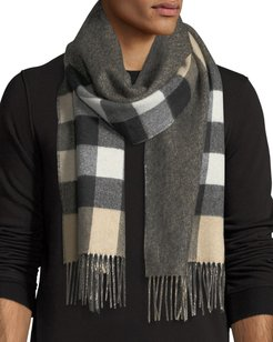 Slim Cashmere Mega-Check to Solid Scarf