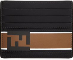 Forever Logo Striped Leather Card Case
