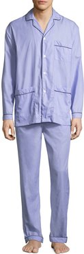 Two-Piece Contrast-Piped Pajama Set