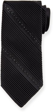 Crystal Pleated Silk Tie