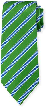 Triple-Stripe Silk Tie, Green