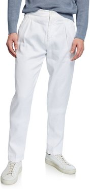 Solid Linen/Cotton Pleated Pants