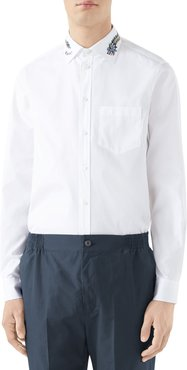 Embroidered-Collar Pinpoint Sport Shirt