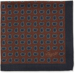 Pines Wool Pocket Square, Rust