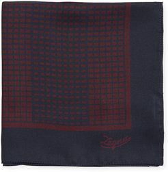Grid Check Silk Pocket Square, Red
