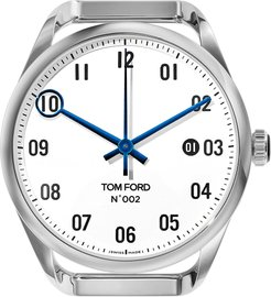 Automatic Round Polished Stainless Steel Case, White Dial, Large