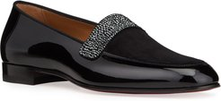 Salva Notte Patent Leather Red Sole Strass Loafers
