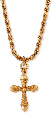 Cross Pendant Necklace with French Rope Chain, Golden