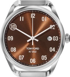 Automatic Round Polished Stainless Steel Watch Case, Brown Dial, Large