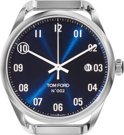 Automatic Round Polished Stainless Steel Watch Case, Blue Dial, Large