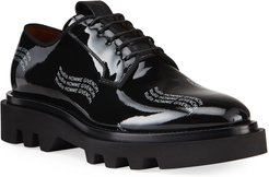 Combat Patent Leather Logo Derby Shoes
