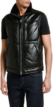 Leather Vest with Shearling Collar Lining