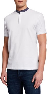 Short-Sleeve Contrast-Collar Henley Shirt