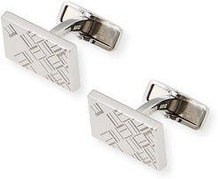 Abstract Longtail Silver Rectangle Cufflinks