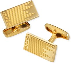 Gold-Plated Longtail Stripe Rectangle Cufflinks