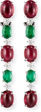 18K White Gold Emerald & Pink Topaz Drop Earrings with Diamonds