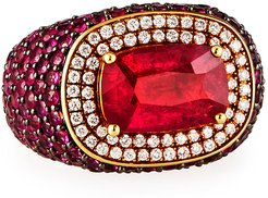 18k Ruby Ring w/ Pink Sapphires & Diamonds