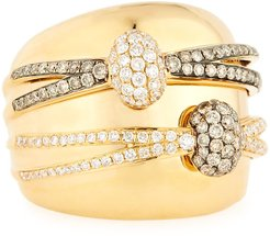 18K Yellow Gold Ring with White & Champagne Diamond Wraps, Size 6.5