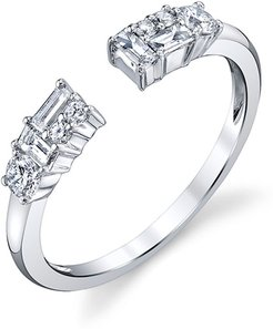 Open Mixed-Cut Diamond Ring in 18K White Gold, Size 6.75
