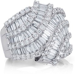 Multi-Row Baguette Diamond Ring, Size 6.5