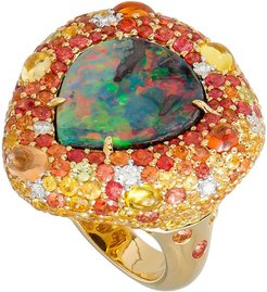 18k Boulder Opal Pear Ring w/ Mixed Pave, Size 6.5
