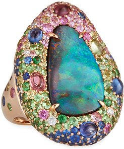 18k Yellow Gold Opal & Multi-Stone Ring with Cabochons, Size 6.5