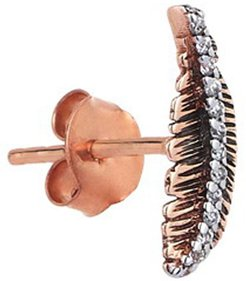 14k Rose Gold Diamond Feather Stud Earring (Single)