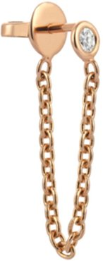 14k Rose Gold Diamond Chain Dangle Earring, Single