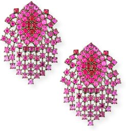 18k Black Gold Ruby Dangle Clip-On Earrings