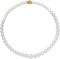 """18"""" Akoya Cultured Graduated 6.5-9.5mm Pearl Necklace with Yellow Gold Clasp"""
