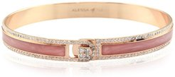 Spectrum Painted 18k Rose Gold Bangle w/ Diamonds, Pink, Size 18