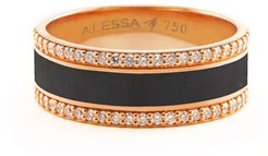 Spectrum Painted 18k Rose Gold Ring w/ Diamond Trim, Black, Size 7.5