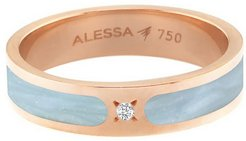 Spectrum Painted 18k Rose Gold Stack Ring w/ Diamond, Light Blue, Size 7.5