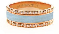 Spectrum Painted 18k Rose Gold Ring w/ Diamond Trim, Light Blue, Size 7.5