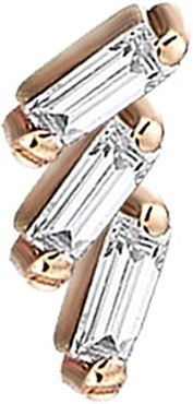 Baguette 14k Rose Gold Step 3-Diamond Earring, Single