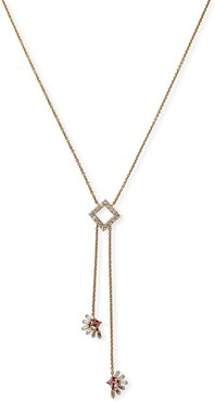 18k Pink Sapphire and Diamond Lariat Necklace